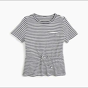 NWT! JCrew Tie-Waist Pocket T-Shirt in Navy Stripe
